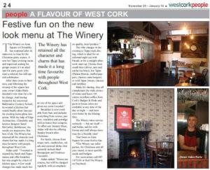 New look menu at The Winery